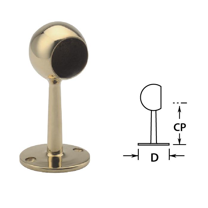 """2"""" Brass Ball End Post - 6"""" high"""