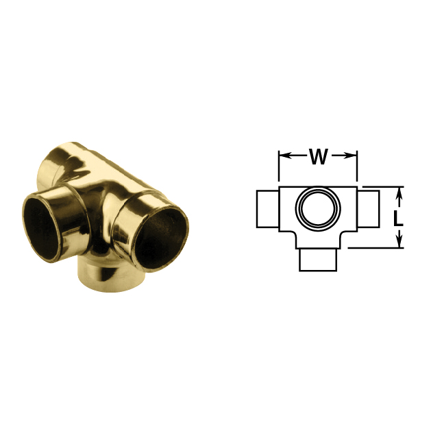 Flush Side Outlet Tee in Brass