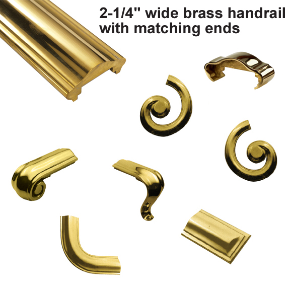 """2-1/4"""" Brass Handrail Ends"""