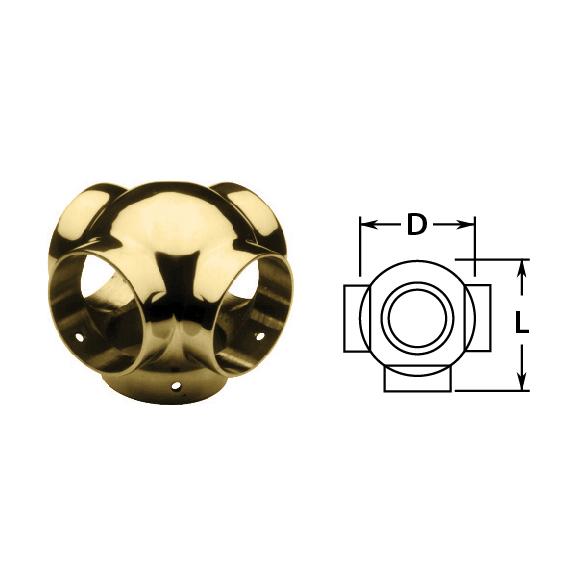 Side Outlet Cross in Brass