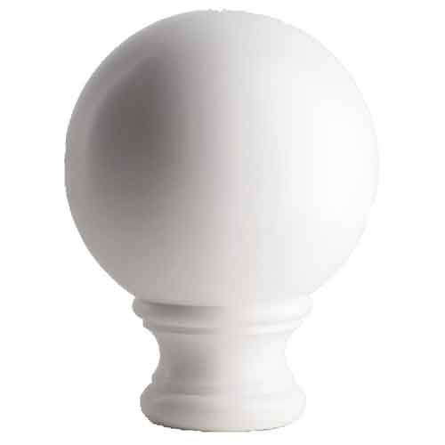 """3-1/2""""  Sphere Post Top, White, base of 2-1/8"""" dia."""