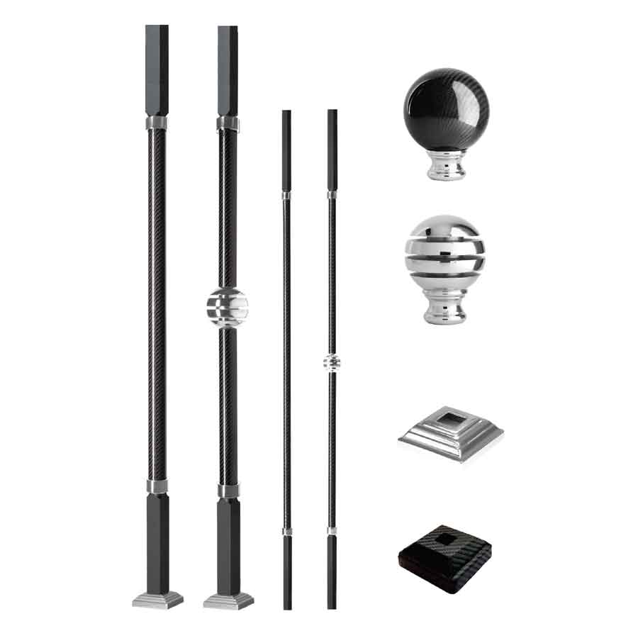 Grande Forge Carbone Series Square Posts and Balusters with a Nickel Finish