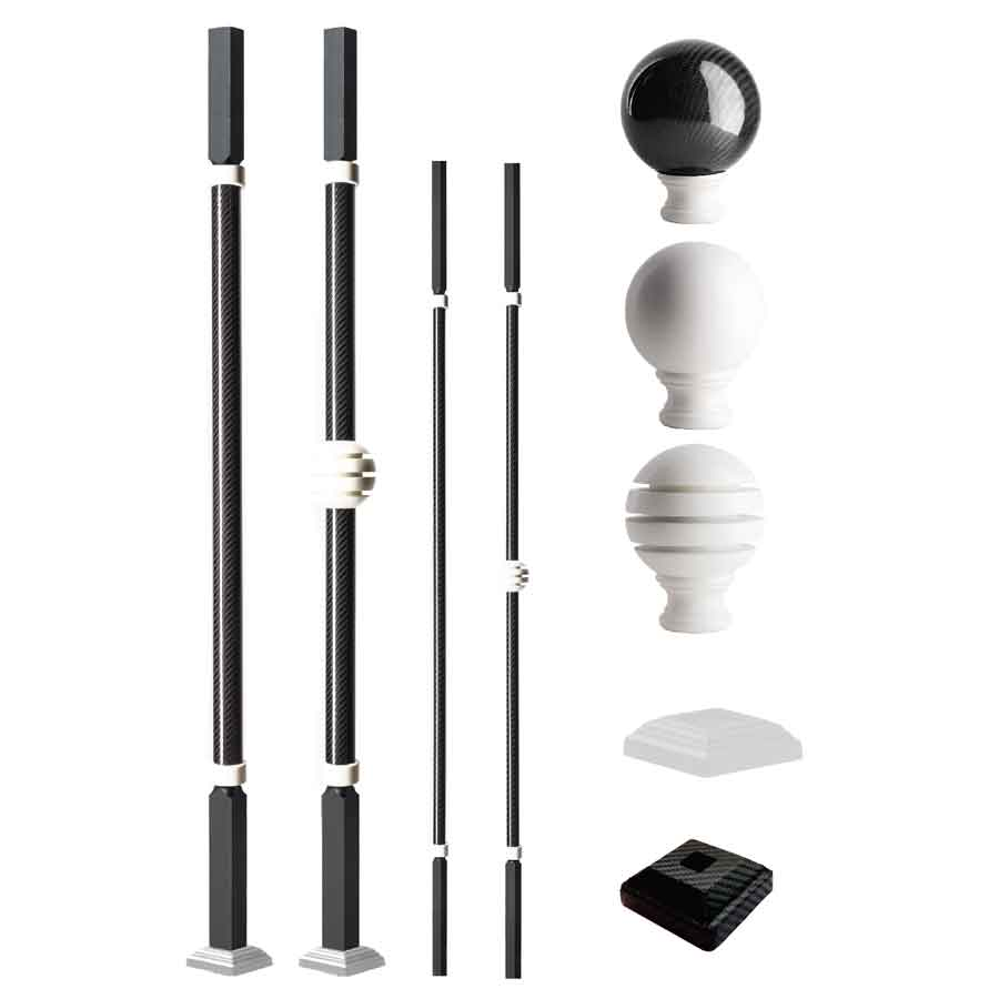 Grande Forge Carbone Series Square Posts and Balusters with a White Finish