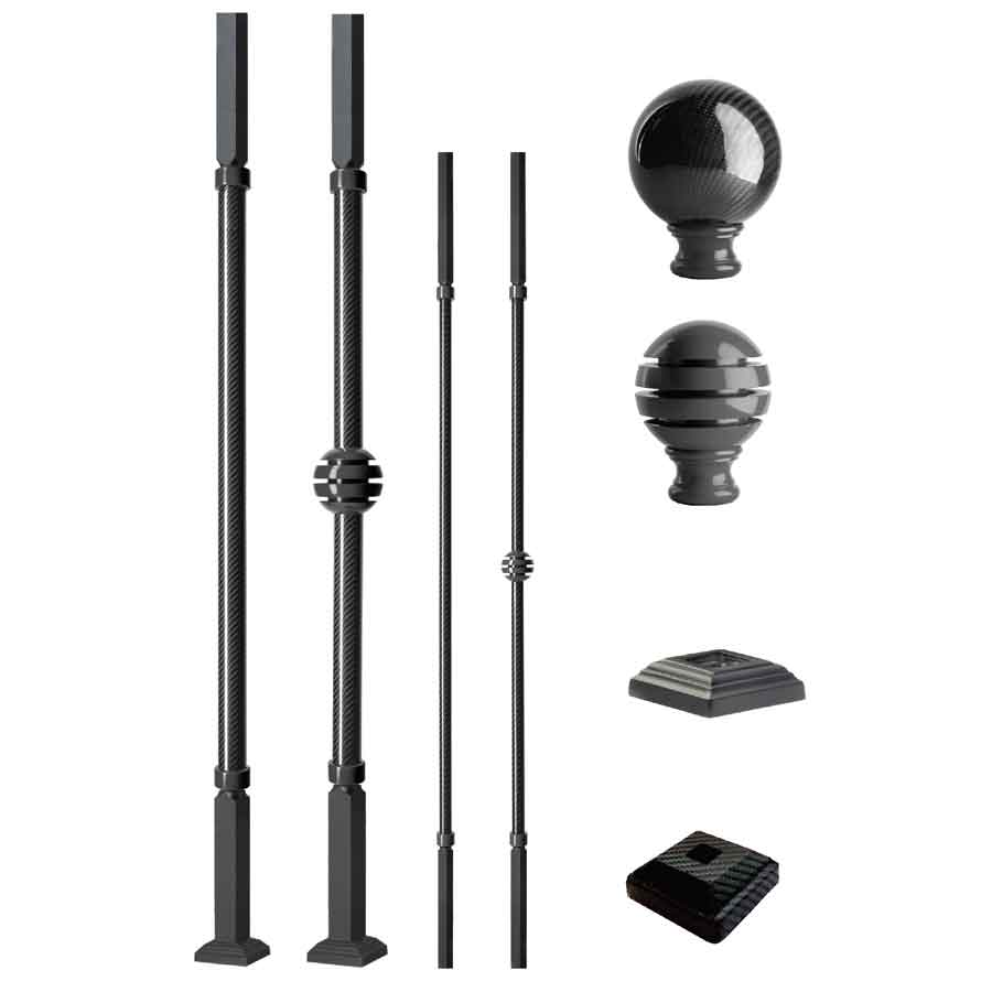 Grande Forge Carbone Series Square Posts and Balusters with a Satin Finish