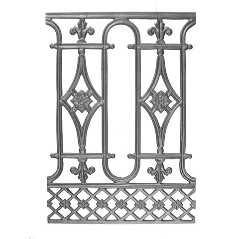 "24"" Tall Cast Iron Panel, Traditional Style, Double Faced"