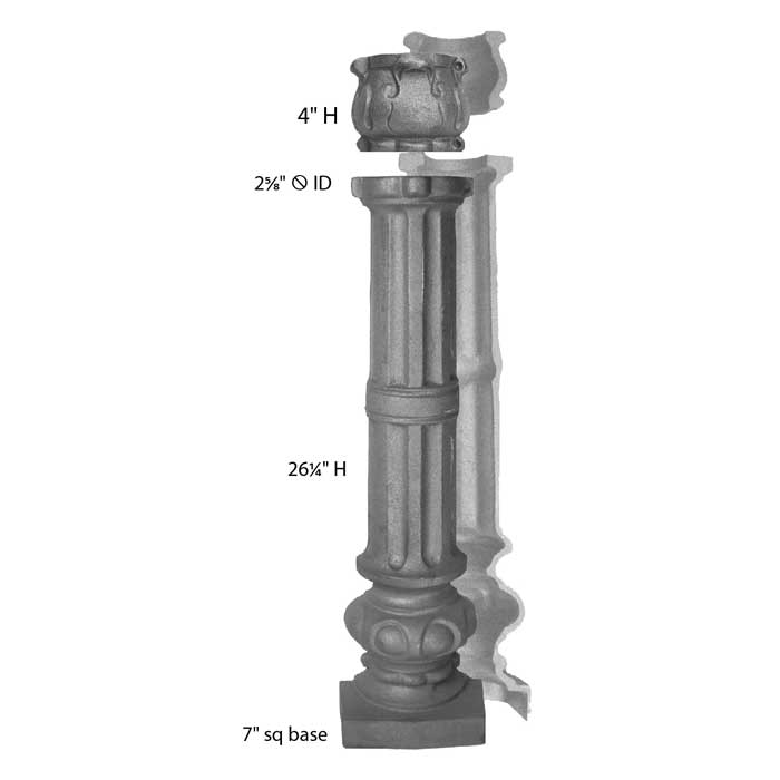 """7"""" Square Base Cast Iron Fence Post with Collar"""