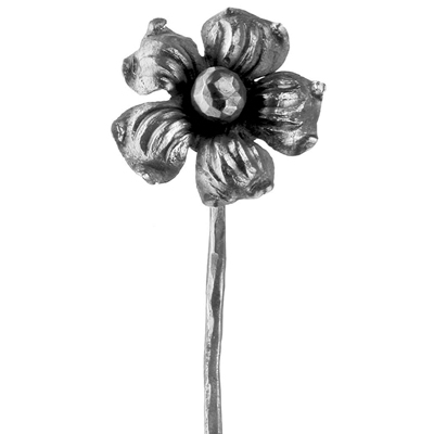 "Cast Steel Flower with Stem, 12-3/16"" Tall"