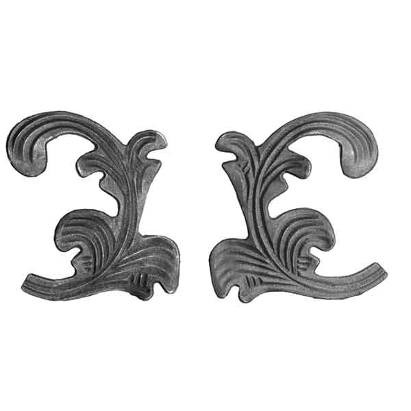 """Cast Steel Leaves, 7-7/8"""" Tall, 1/4"""" Thick"""