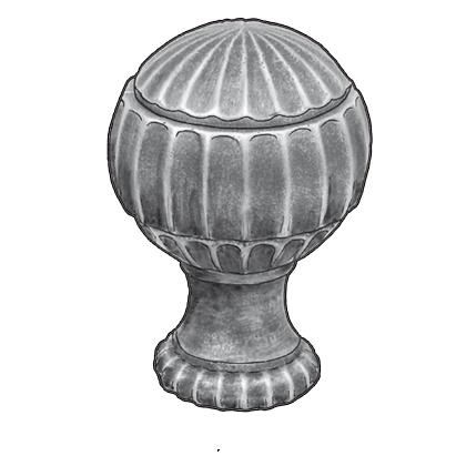 "Starting Ball Finial w/2"" dia. base, Cast Steel, 4-3/4"" Tall, M10 Threaded Hole"