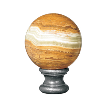 "Onyx Ball Finial, Cast Steel Base of 2-3/16"", from Grande Forge"