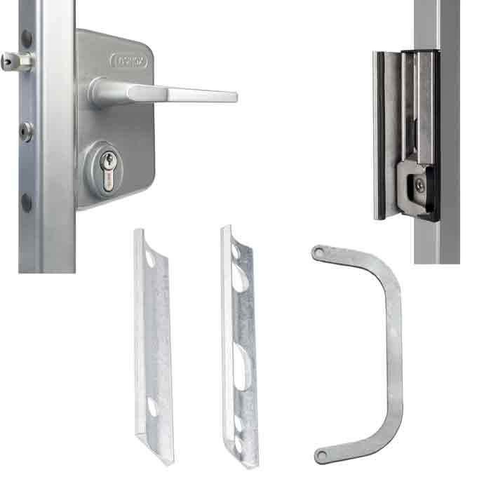 "Chain Link Swing Gate Lock Kit for 1-5/8"" round frames, Silver, Includes LAKQ40USL, SHKLQFBL, 3019LA, 6403 & CLH"