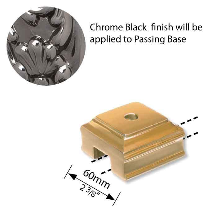 Brass Passing Finial Base, Chrome Black Finish