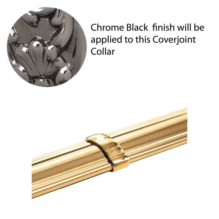 """2"""" wide Brass Cover Joint, Chrome Black Finish, used with Handrail MCL50CN"""