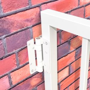 Aluminum Adjustable Self-Closing Gate Hinge, Wall or Post Mounted, Pair with Screws - White