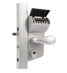 "Vinci Mechanical Code Lock for Swing Gates, Fits 2-1/2"" - 3"" Tube, Silver"