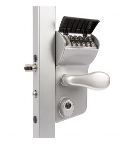 "Vinci Mechanical Code Lock for Swing Gates, Fits 1-1/4"" Tube, Silver"
