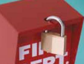"Lock Box, Padlock Style, Bright Red Faceplate, 5-3/8"" Tall"