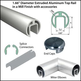 "1.66"" Diameter Mill Finish Aluminum Extruded Top Rail with Accessories"
