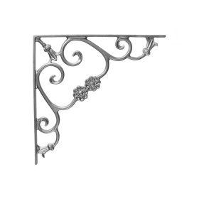 "16"" Tall Cast Iron Corner Bracket, Bell Flower Style, Double Faced"