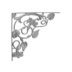 "17"" Tall Cast Iron Corner Bracket, Morning Glory Style, Double Faced"