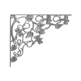 "20-1/4"" Tall Cast Iron Corner Bracket, Morning Glory Style, Double Faced"
