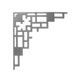 "16-1/2"" Tall Cast Iron Corner Bracket, Contemporary Lattice Style, Double Faced"