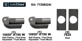 Double 108SF AT90 W/Self Closing -up to 260 lbs-Flush Mount (Weld-On) Hinge Kit for Pool Safety