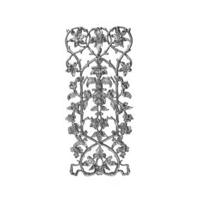 """27-1/4"""" Tall Cast Iron Panel, Passion Flower Style, Side Backed Out (SBO)"""
