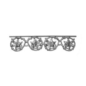 "19-1/2"" Wide Cast Iron Valance, Passion Flower Style, Side Backed Out (SBO)"