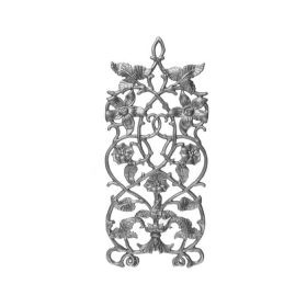 """19-3/4"""" Tall Cast Iron Panel, Passion Flower Style, Side Backed Out (SBO)"""