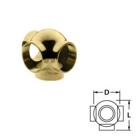 Ball Side Outlet Tees in Brass