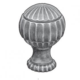 """Starting Cast Steel Finial, 4-3/4"""" Tall, M10 Threaded Hole"""