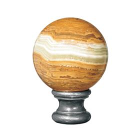 """Onyx Ball Finial, Cast Steel Base of 2-3/16"""", from Grande Forge"""