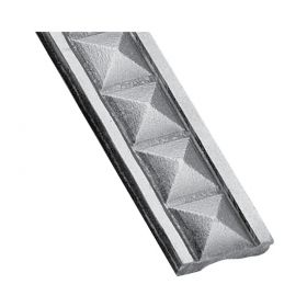 "Patterned Steel Flat Bar with 3D Pyramid Design, 9'8"" long"