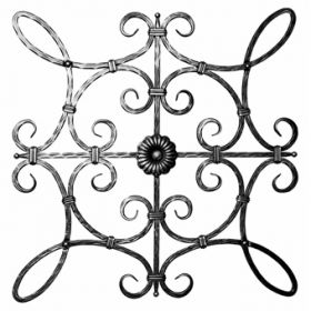 """1/2"""" sq. Forged Steel Hammered Scroll Panel with Double Sided Rosette"""