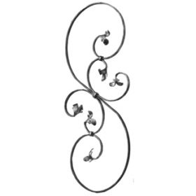 """1/2"""" x 1/4"""" Forged Steel S-Scroll Panel with Leaf Ends, 34-1/4"""" Tall"""