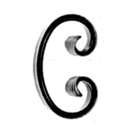 """5/8"""" x 5/16"""" Forged Steel Grooved Edge C-Scroll, 5-3/8"""" Tall"""