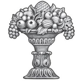 """11"""" Tall Steel Casting, Fruit/Urn Design, Double Faced"""