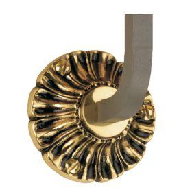 "Steel Handrail Bracket with 3-1/2"" dia. Scalloped Brass Rosette Backplate"