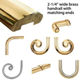 "Prepolished Brass Lateral Scrolls and Fittings for 2-1/4"" Brass Handrail by Grande Forge"