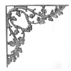 "16"" Tall Cast Iron Bracket, Curly Oak Style, Double Faced"