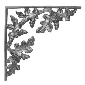 "12-3/4"" Tall Cast Iron Bracket, Curly Oak Style, Double Faced"