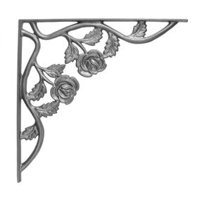 """14"""" Tall Cast Iron Bracket, Rose Style, Double Faced"""