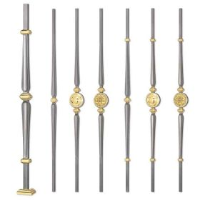 Grande Forge Classic Series Steel Posts and Balusters w/Brass Accents