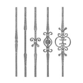 """Grande Forge Rustique Series Forged Steel 1/2"""" sq. Balusters w/Hammered Edges & Scroll Centers"""