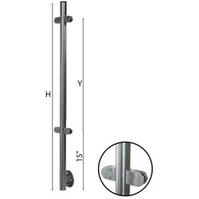 """Stainless Steel Fascia Mounted Line Newel Post with Glass Clamps for use with 1-2/3"""" diameter x 5/64"""" Tubing"""