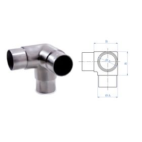 """3-Way Corner Fitting for 1-2/3"""" dia. Tubing, 316 Satin Stainless Steel"""