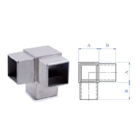 3-Way Corner Fitting for Square Tubing, 316 Satin Stainless Steel