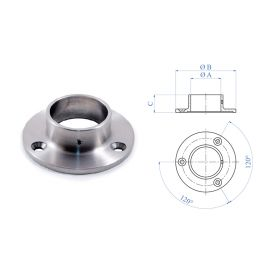 """Anchorage Flange for 1-2/3"""" dia. Tubing, 3 Mounting Holes, 316 Satin Stainless Steel"""