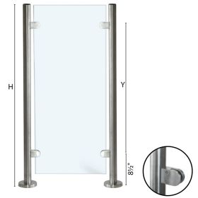 """Stainless Steel Round Newel End Post with Glass Clamps for use with 1-2/3"""" diameter x 5/64"""" Tubing"""